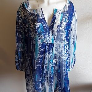 Soft Surroundings 100%Silk Tunic SZ 2X Semi-Sheer
